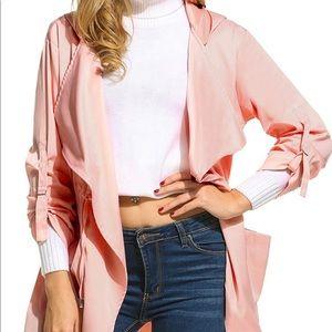 Pink open trench coat